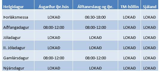 Íþróttamannvirki Garðabæjar jól og áramót 2016